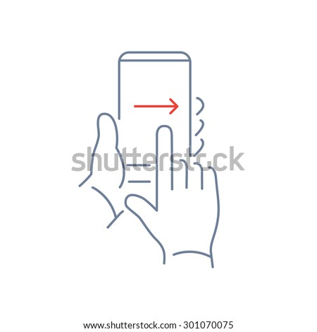 Vector linear phone and technology icons with hand gesture swipe with one finger from left to right side on smartphone touchscreen | flat design thin modern grey and red illustration and infographic - stock vector
