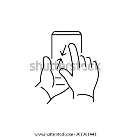 Vector linear phone and technology icons with pinch zoom out gesture with two fingers on smartphone touchscreen | flat design thin line modern black illustration and infographic on white background - stock vector