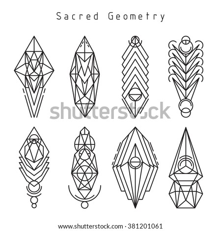 Vector linear sacred geometry emblem set, thin line design logo and signs of spiritual geometric shapes - stock vector