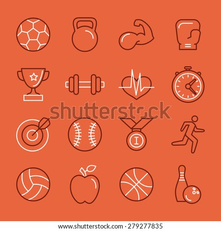 Vector linear sport and fitness logo design template and icon set - emblems in trendy mono line style for gyms and clubs - stock vector