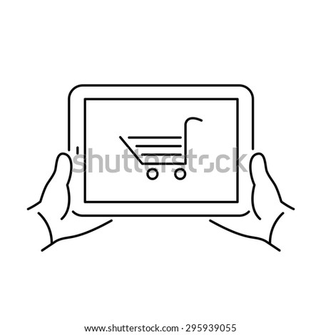 Vector linear tablet icon with online e-shop cart on screen | flat design thin line black modern illustration and infographic isolated on white background - stock vector