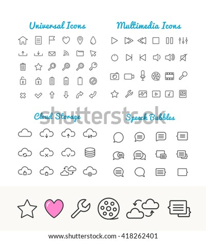 Vector linear thin icons set for web and application interface. Cloud storage, speech bubbles, multimedia and universal web icons. App icons set. Universal thin Icons for web and mobile. Web icons set - stock vector