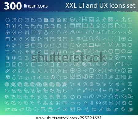 Vector linear UI UX icons for web design and application - stock vector