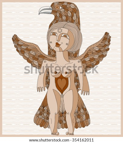 Vector lined illustration of bizarre creature, nude woman with wings, animal side of human being. Goddess conceptual hand drawn allegory image. Free as bird. - stock vector