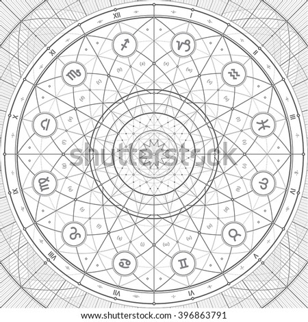 Vector linedraft illustration with zodiac symbols. Can be easily colored and used in your design. - stock vector