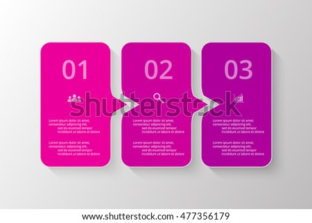 Vector lines arrows infographic. Violet template for diagram, graph, presentation and chart. Business concept with 3 options, parts, steps or processes.