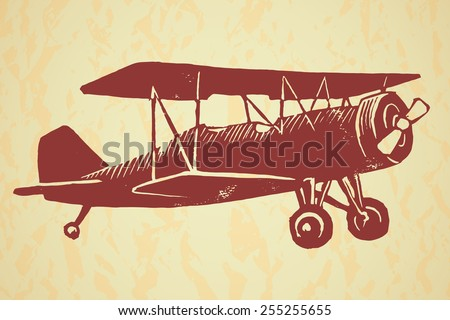 Vector linocut vintage airplane isolated on the background textured with crumbled paper - stock vector