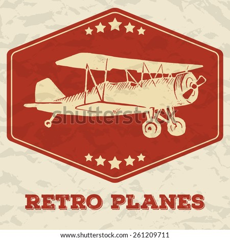 Vector linocut vintage airplane. Polygonal stamp with stars. Isolated on background with texture of crumbled paper. With text Retro planes - stock vector
