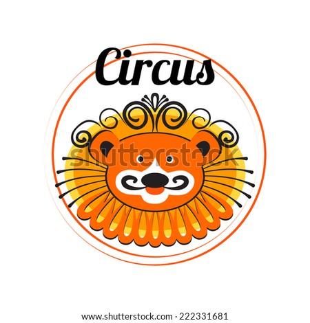 Vector Lion logo for your circus poster design - stock vector