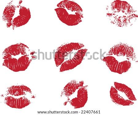 Vector Lipstick Marks - stock vector