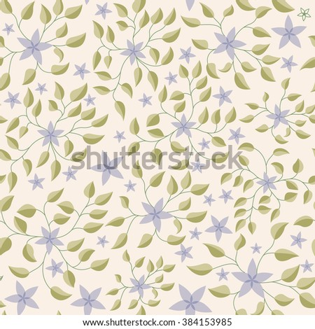 Vector little flowers with leaves pattern vintage