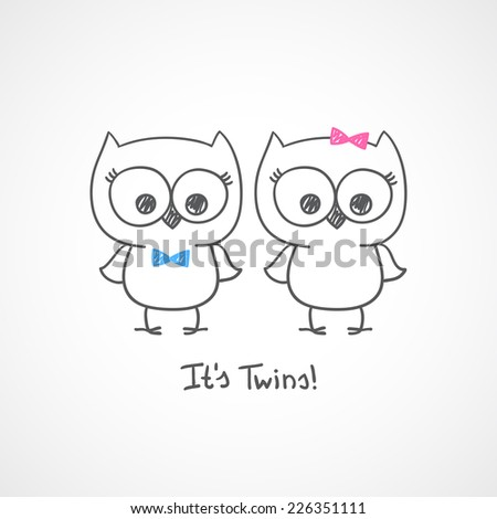 vector little owls twins, baby shower invitation template - stock vector