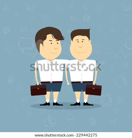 Vector little schoolboy in uniform.back to school - stock vector