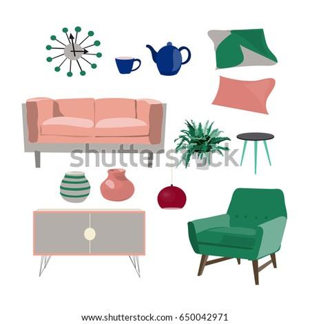 Vector Living Room Furniture Mood Board Stock Vector