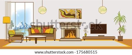 Vector living-room interior. Flat design stylization. Collection of living-room, dining-room, bathroom, kitchen, bedroom, child's bedroom vector interior - stock vector