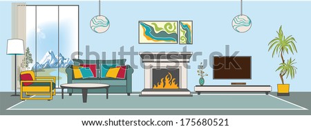 Vector living-room interior. Flat design stylization. Collection of living-room, dining-room, bathroom, kitchen, bedroom, child's bedroom vector interior - stock vector