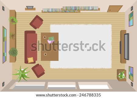vector living room (top view) - stock vector