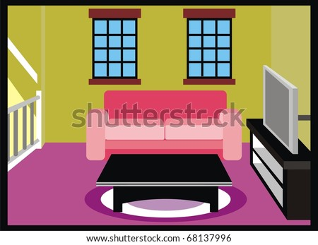 Vector Living Room Furniture TV Table Stock Vector HD (Royalty Free ...