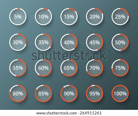 Vector loader progress. Set of loading buttons from 5 to 100 percent - stock vector