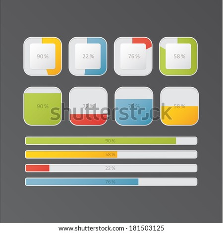 Vector loadings and progress bars for website or application. Colorfully universal - neutral buttons. Easy to edit. - stock vector