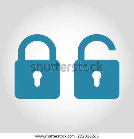 vector lock unlock icon in flat style - stock vector