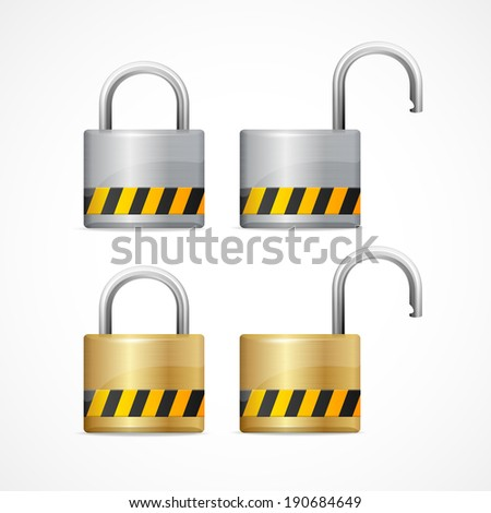 Vector locked and unlocked padlock set isolated - stock vector