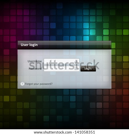 Vector log-in screen form element on colorful background. Layered. Isolated from background.