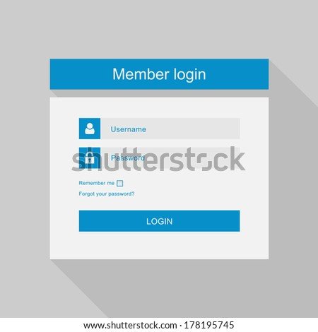 Vector login interface - username and password, flat design - stock vector