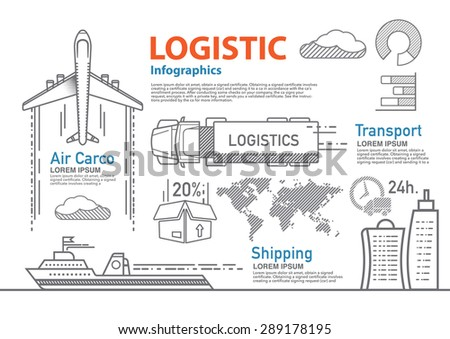 vector logistic line infographic set. - stock vector