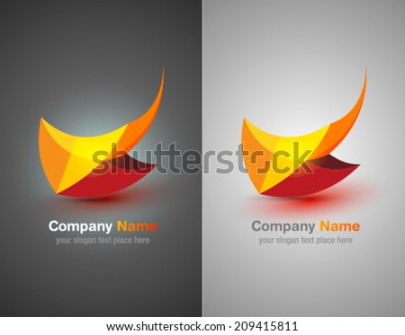 Vector logo abstract icon. Corporate identity. Design elements. Orange shapes. - stock vector