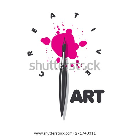 vector logo brush and blots of paint - stock vector