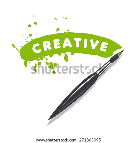 vector logo brush and green paint - stock vector