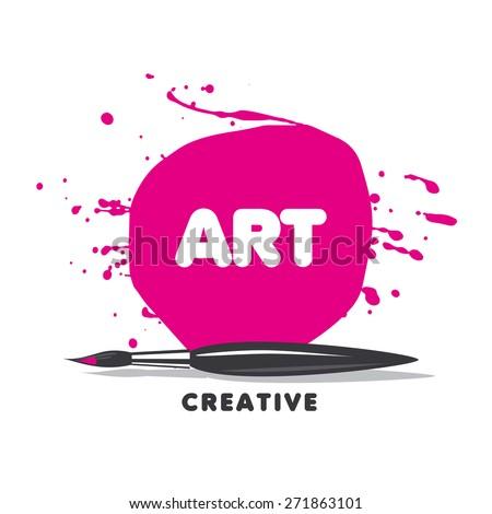vector logo brush, paint and spray - stock vector