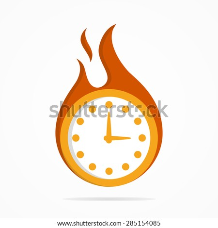 Vector logo clock in a fire - stock vector