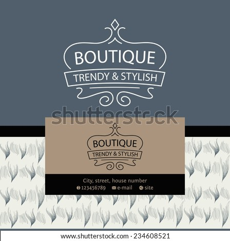 Vector logo Clothing made of fur and leather. The texture of fur. Vintage. Luxury and grandeur. - stock vector