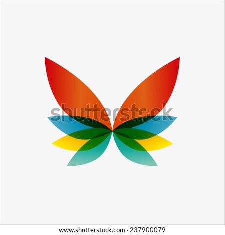 Vector logo design element. Butterfly, creative, abstract - stock vector