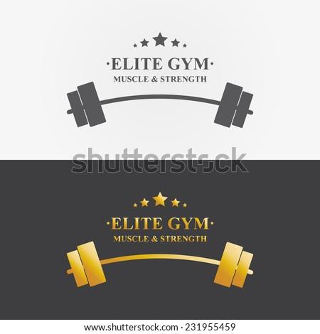 Vector logo design element on white background. Elite, gym, barbell, golden - stock vector
