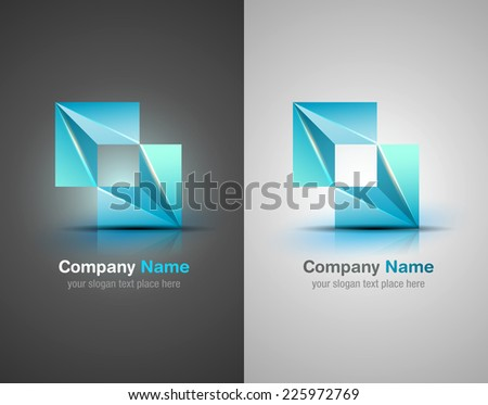 Vector logo design elements. Origami diamond. Blue icon.Corporate identity. - stock vector