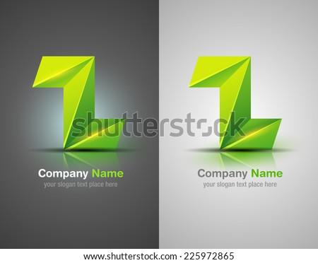 Vector logo design elements. Origami. Green icon. - stock vector