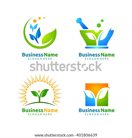 vector logo design set  of application leaf ecology, medical, health and farm - stock vector
