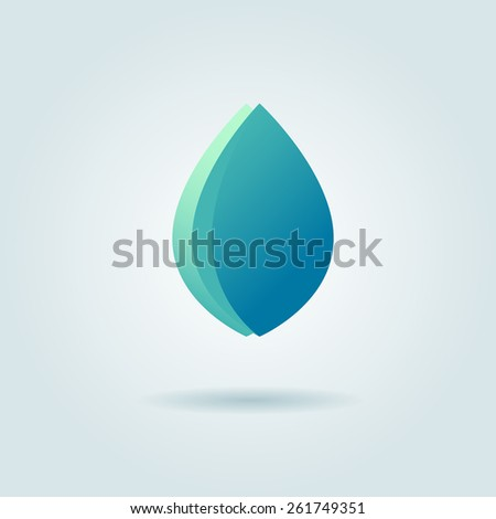 Vector logo design template. Abstract blue water drop, wave and leaf shape, . Business, technology, nature, ecology symbol - stock vector