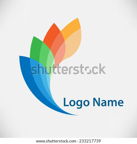 Vector Logo Design Template . Abstract Colorful Wing Icon. Vector illustration. - stock vector