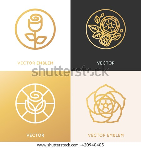 Vector logo design template and monogram concepts in trendy linear style and golden colors - rose flowers with leaves - cosmetics and beauty signs