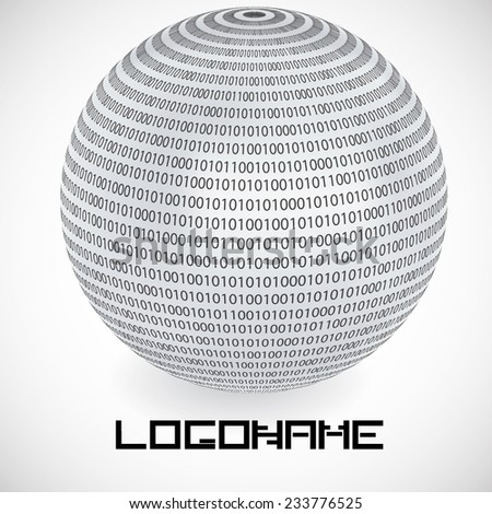 Vector Logo Design Template . Binary Code in Sphere Form . Technology Icon.  - stock vector