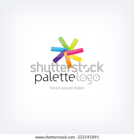 Vector logo design template - bright palette sampler - color guide - stock vector