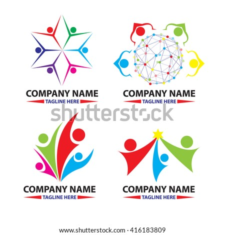 Vector logo design template. Colorful abstract happy people in circle shape. Concept for social network, team work, partnership, friends, business cooperation, playing kids, celebration party.