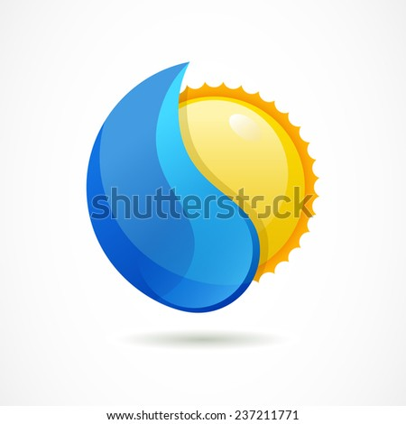 Vector logo design template. Glossy sun with clean water drop. Design concept for ecology or environment.  - stock vector
