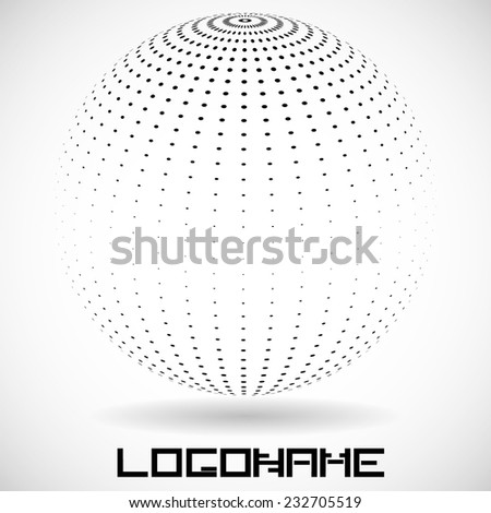 Vector Logo Design Template .  Halftone Dots in Sphere Form . Business Icon.  - stock vector