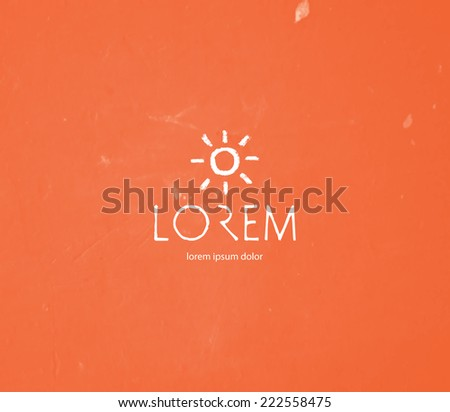 Vector logo design template - hand drawn sun symbol  - stock vector