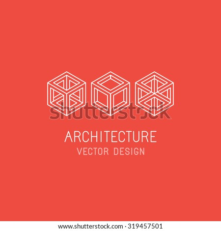 Vector logo design template in linear simple style - emblem and illustration for technology and app development, program architecture, game studio and new media artist - mono line cube icons - stock vector
